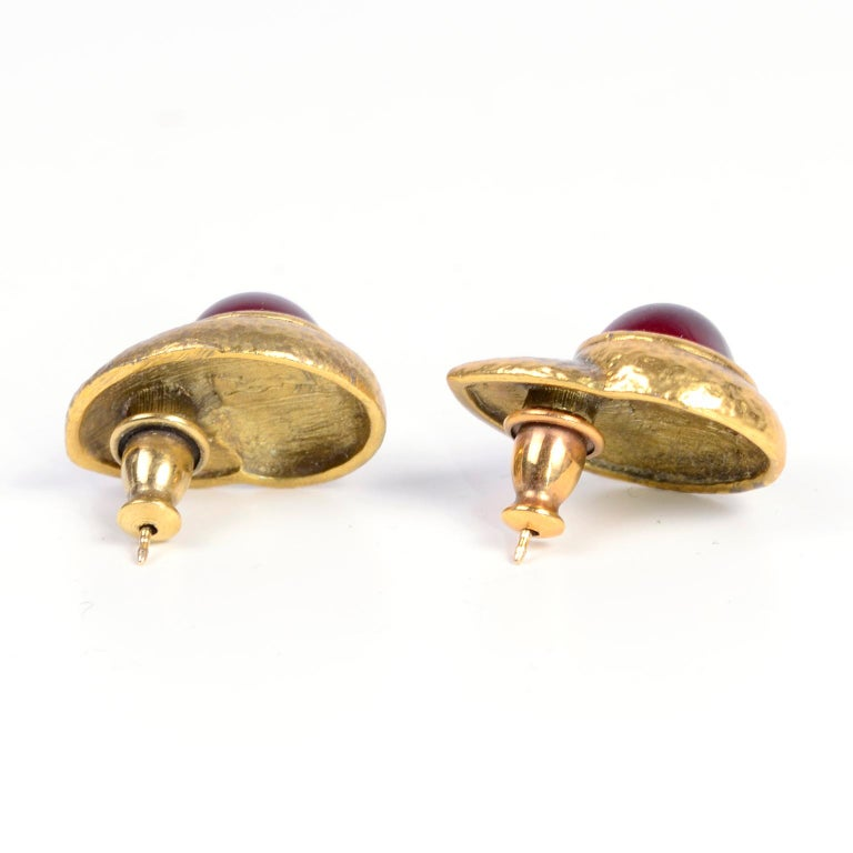 Women's Yves Saint Laurent YSL Vintage Pierced Earrings With Red Cabochons in Gold Metal For Sale