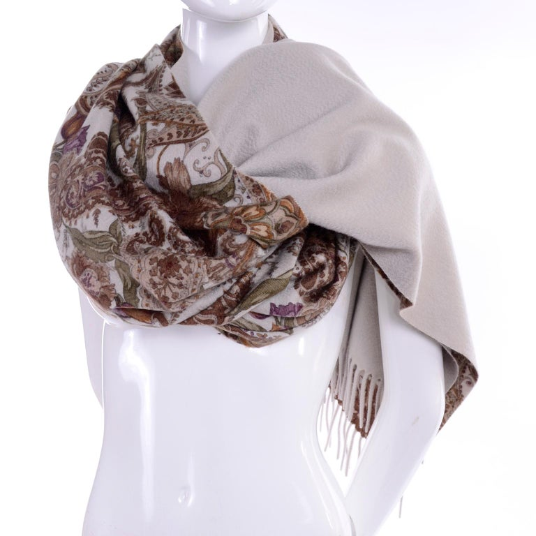 Loro Piana Cashmere Paisley Floral Print Stole Scarf or Wrap For Sale 3