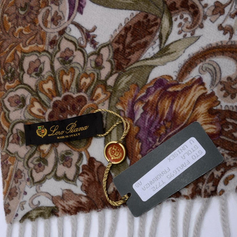 Loro Piana Cashmere Paisley Floral Print Stole Scarf or Wrap For Sale 6