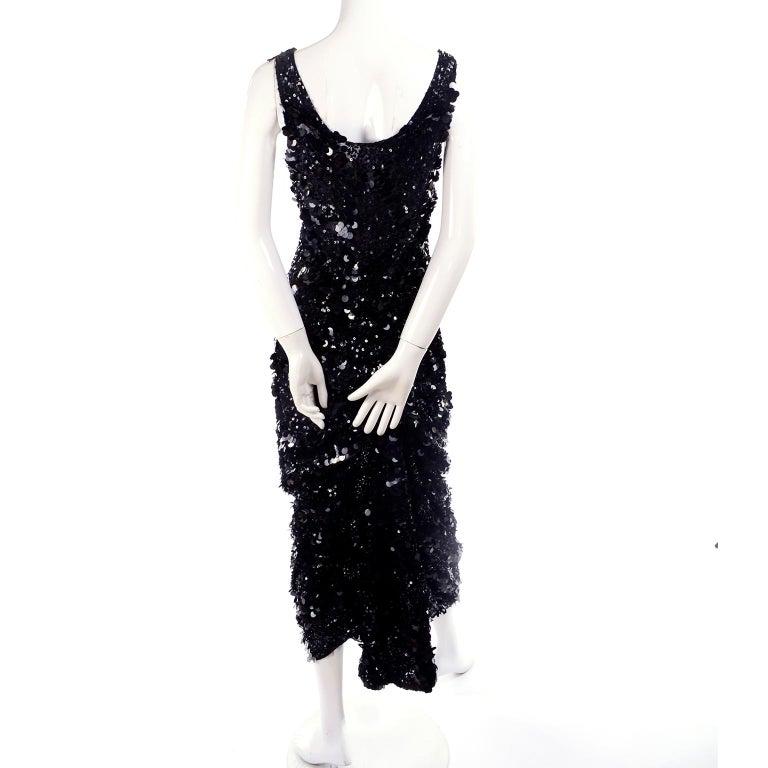Women's Vintage Evening Dress in Black W Sequins & Paillettes with Train & Bustle For Sale
