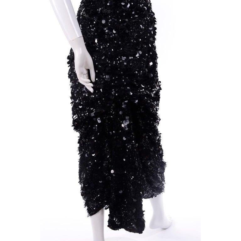 Vintage Evening Dress in Black W Sequins & Paillettes with Train & Bustle For Sale 1