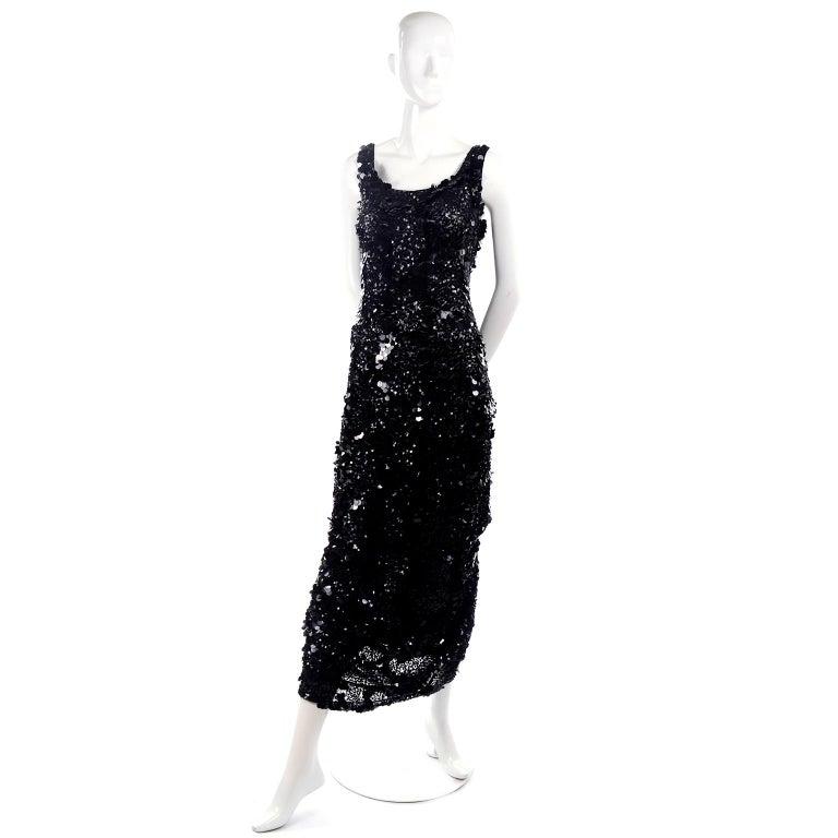 Vintage Evening Dress in Black W Sequins & Paillettes with Train & Bustle For Sale 2