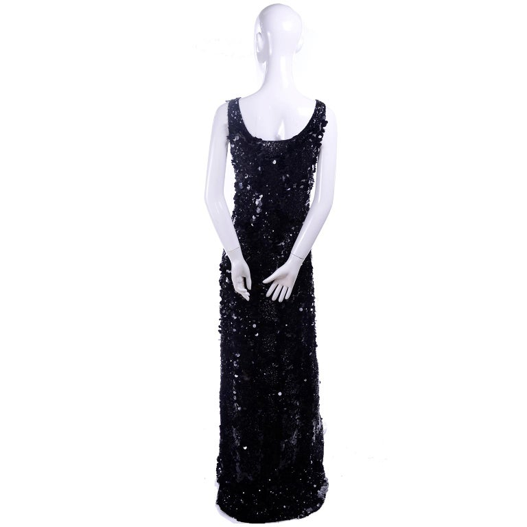 Vintage Evening Dress in Black W Sequins & Paillettes with Train & Bustle For Sale 3