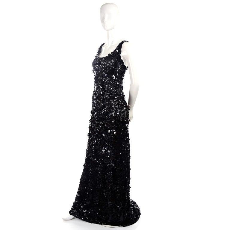 Vintage Evening Dress in Black W Sequins & Paillettes with Train & Bustle For Sale 5