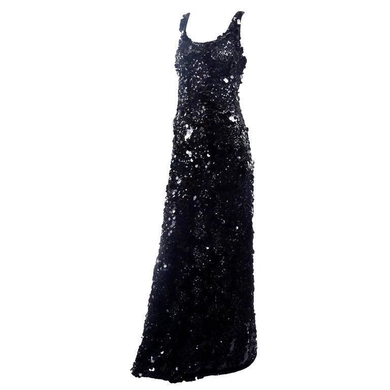 Vintage Evening Dress in Black W Sequins & Paillettes with Train & Bustle For Sale 7