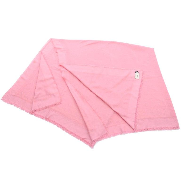Women's or Men's Fendi Pink Silk Glitter Jacquard Logo Scarf or Wrap With Fringe  For Sale