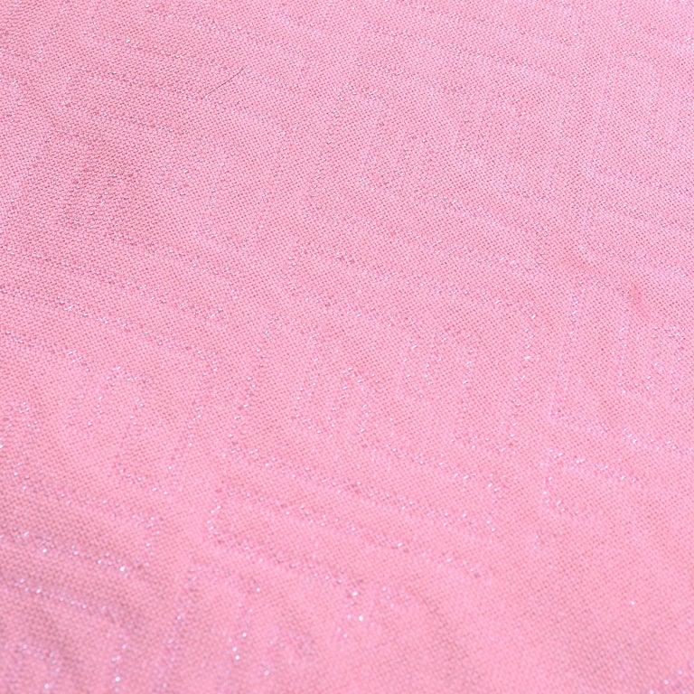 Fendi Pink Silk Glitter Jacquard Logo Scarf or Wrap With Fringe  For Sale 3