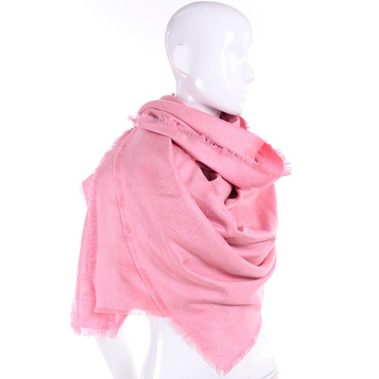 Fendi Pink Silk Glitter Jacquard Logo Scarf or Wrap With Fringe  For Sale 1