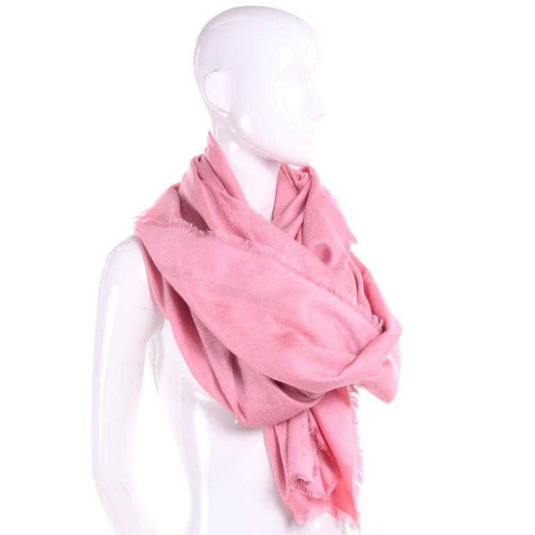 Fendi Pink Silk Glitter Jacquard Logo Scarf or Wrap With Fringe  For Sale 4