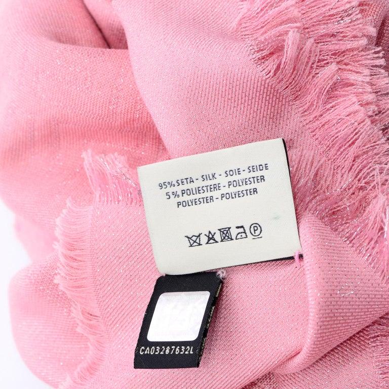 Fendi Pink Silk Glitter Jacquard Logo Scarf or Wrap With Fringe  For Sale 6