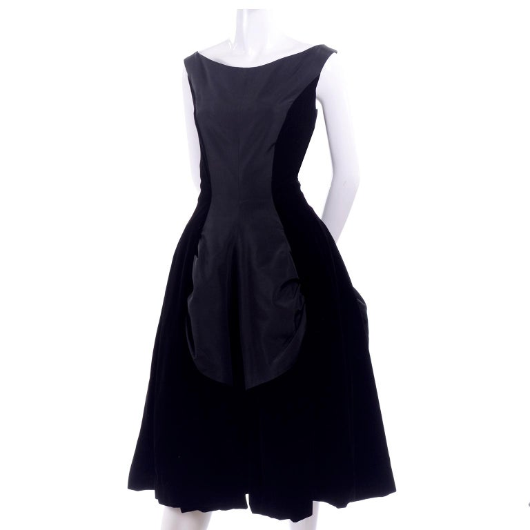 1950s Black Velvet And Taffeta Vintage Party Dress With