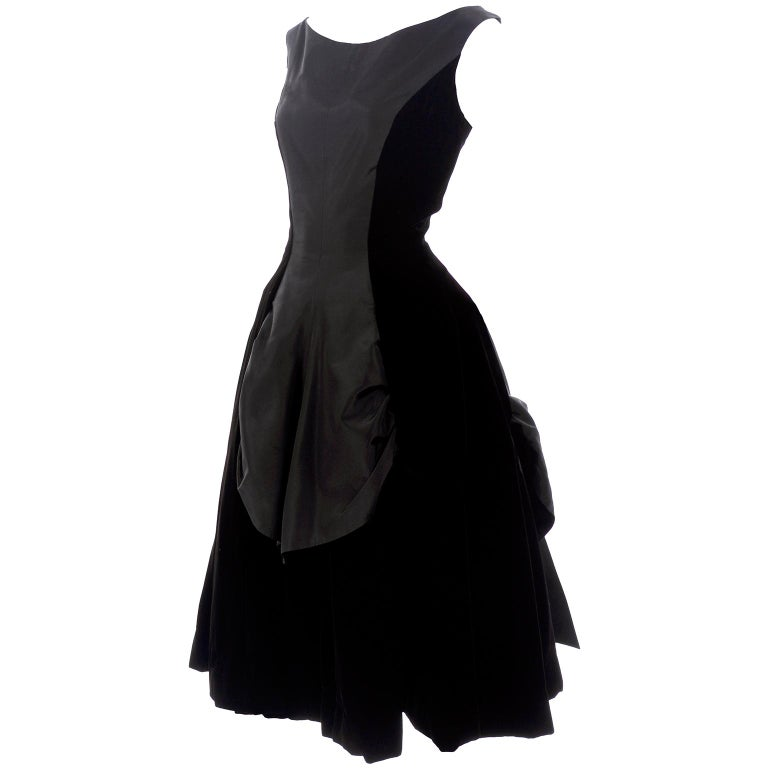 4bde2ee07 1950s Black Velvet and Taffeta Vintage Party Dress With Full Skirt For Sale