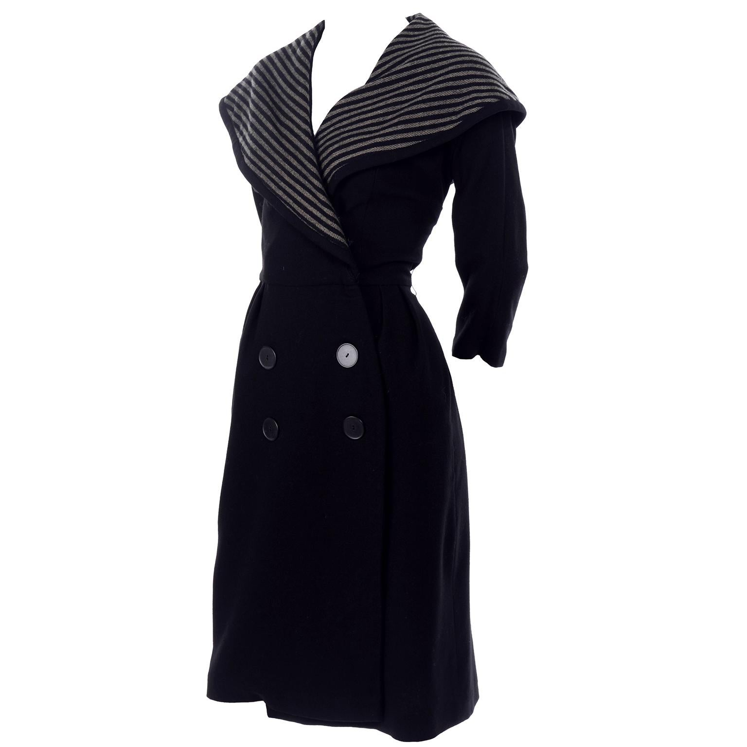 Vintage Edwardian 1910s Black and Gray Wool Walking Coat Jacket With Wide Collar