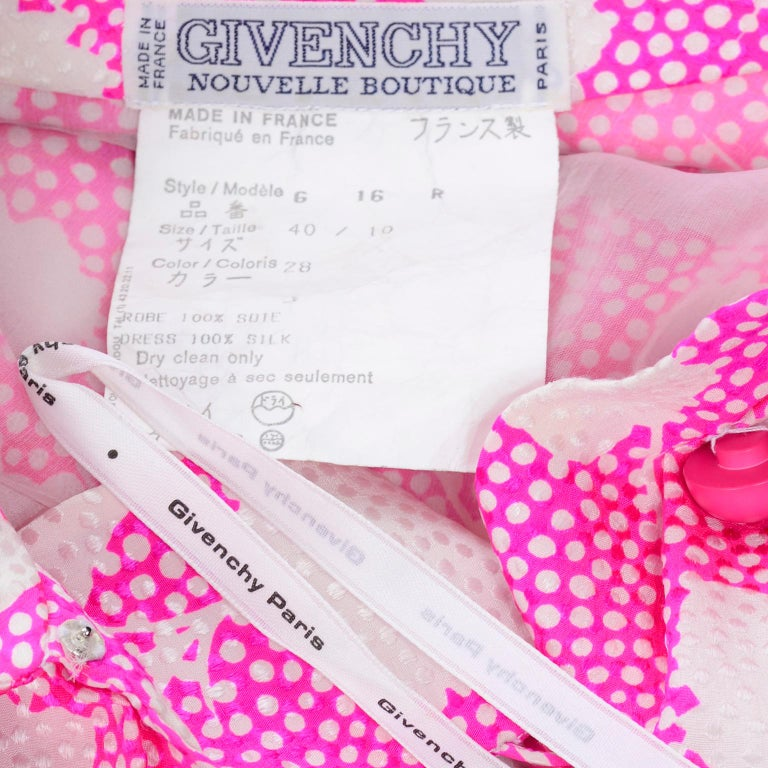 1980s Vintage Givenchy Pink & White Floral Dot Silk Day Dress  For Sale 7