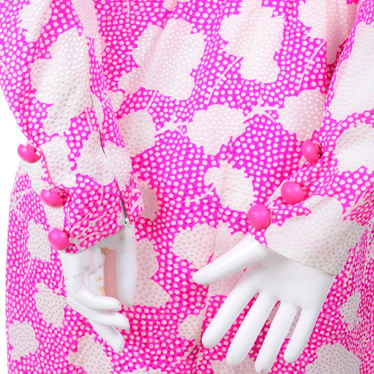 1980s Vintage Givenchy Pink & White Floral Dot Silk Day Dress  For Sale 3