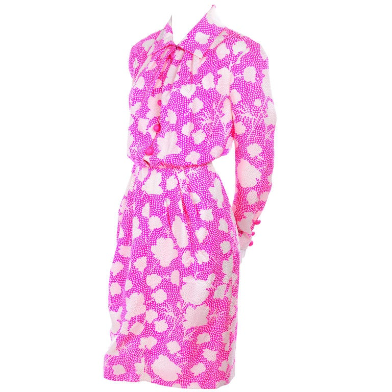 1980s Vintage Givenchy Pink & White Floral Dot Silk Day Dress