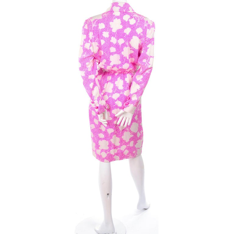 1980s Vintage Givenchy Pink & White Floral Dot Silk Day Dress  For Sale 1