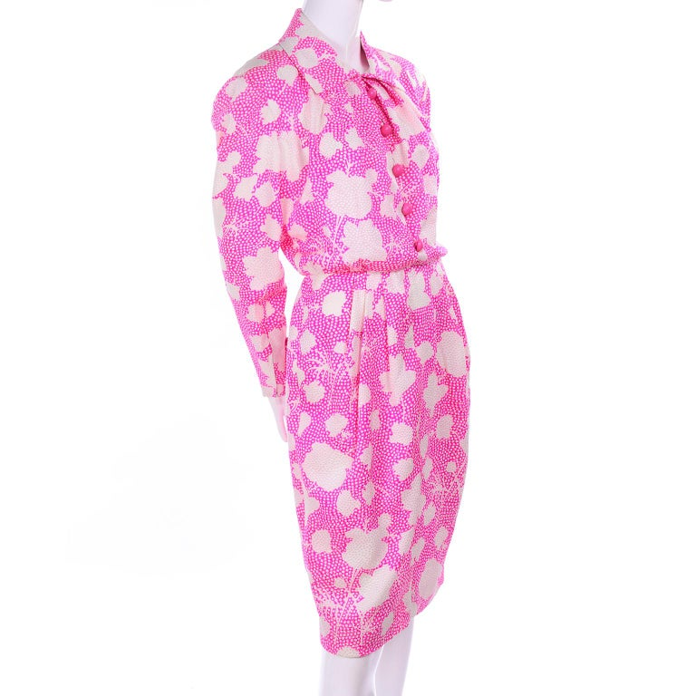 Women's 1980s Vintage Givenchy Pink & White Floral Dot Silk Day Dress  For Sale