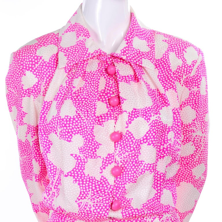 1980s Vintage Givenchy Pink & White Floral Dot Silk Day Dress  For Sale 4