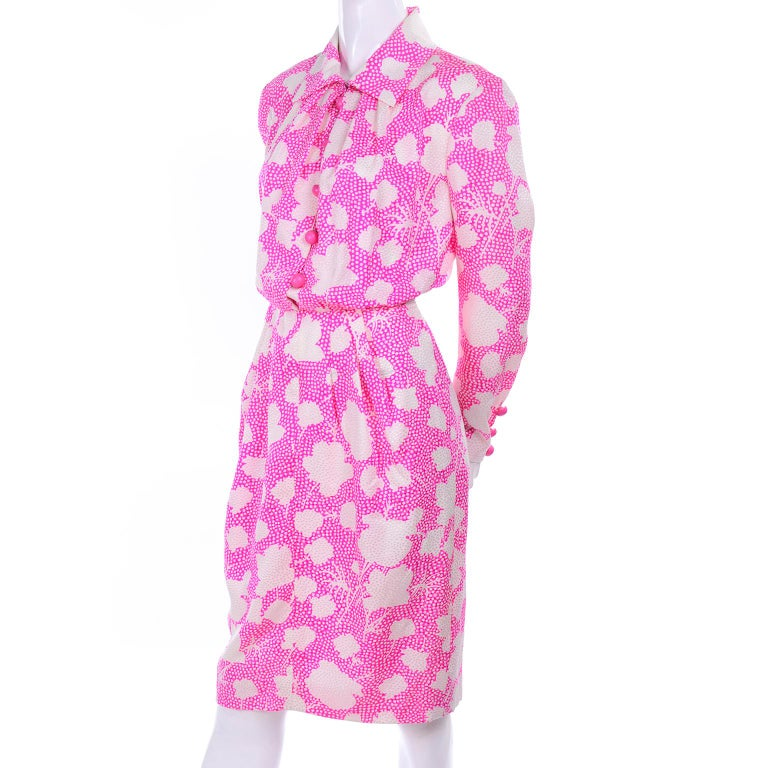1980s Vintage Givenchy Pink & White Floral Dot Silk Day Dress  For Sale 5