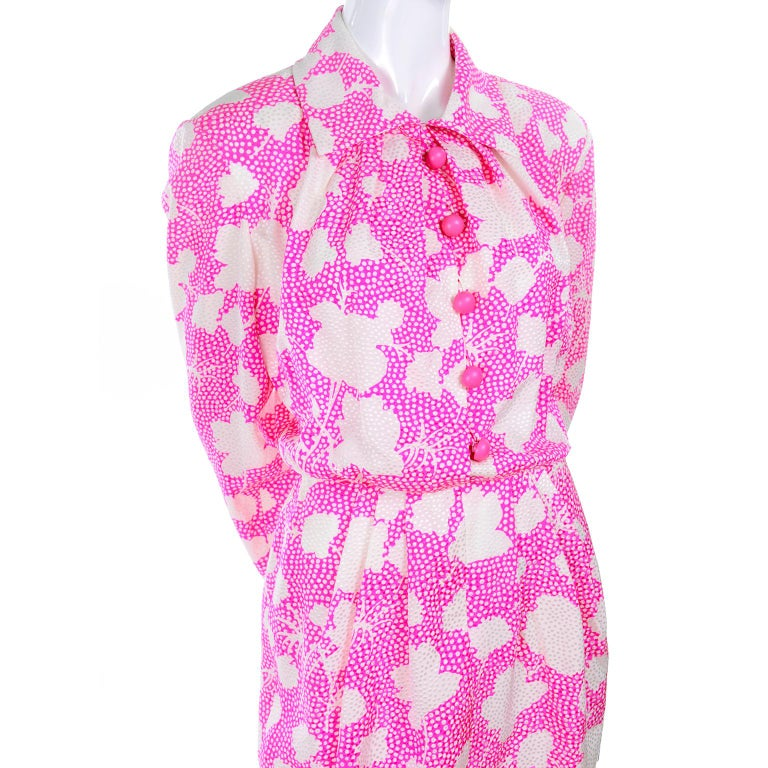 1980s Vintage Givenchy Pink & White Floral Dot Silk Day Dress  For Sale 8