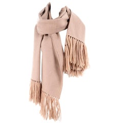 Vintage Camel Wool Blanket Scarf or Wrap With Tassels