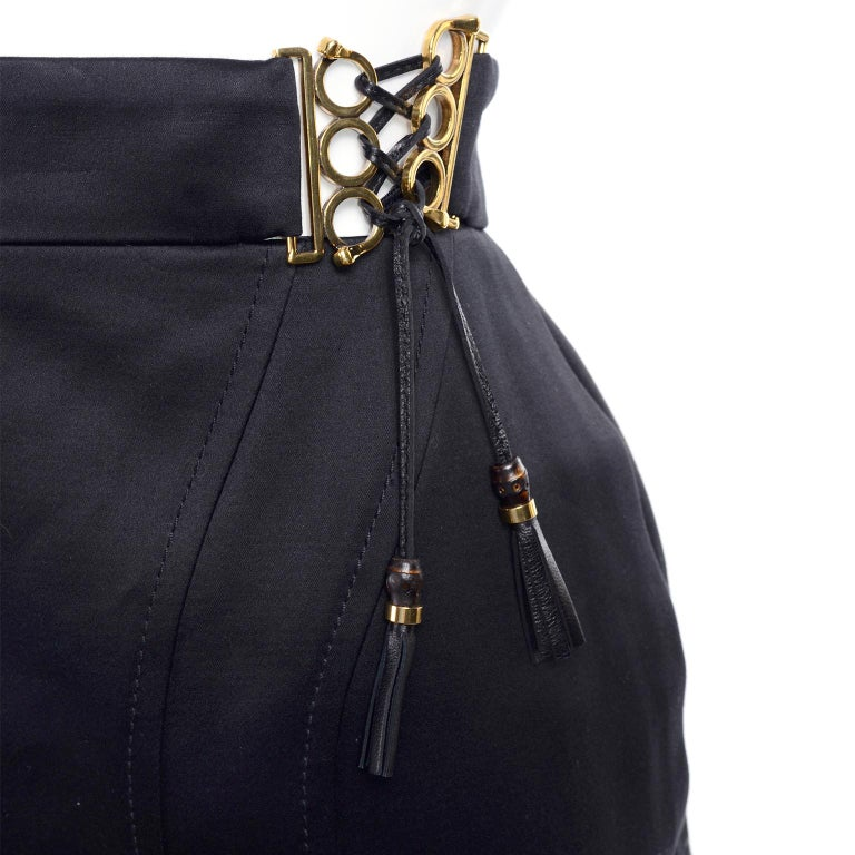 New Gucci Skirt 2011 Black Pencil Skirt W Gold Buckles & Leather Tassels W/ Tags In New Condition For Sale In Portland, OR