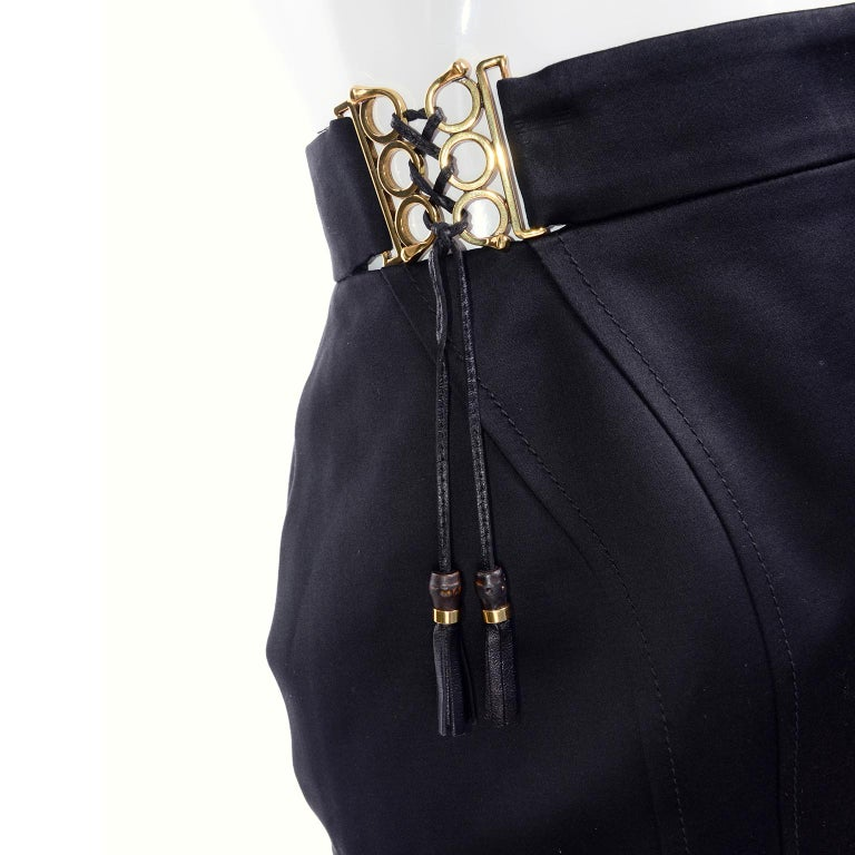 New Gucci Skirt 2011 Black Pencil Skirt W Gold Buckles & Leather Tassels W/ Tags For Sale 1