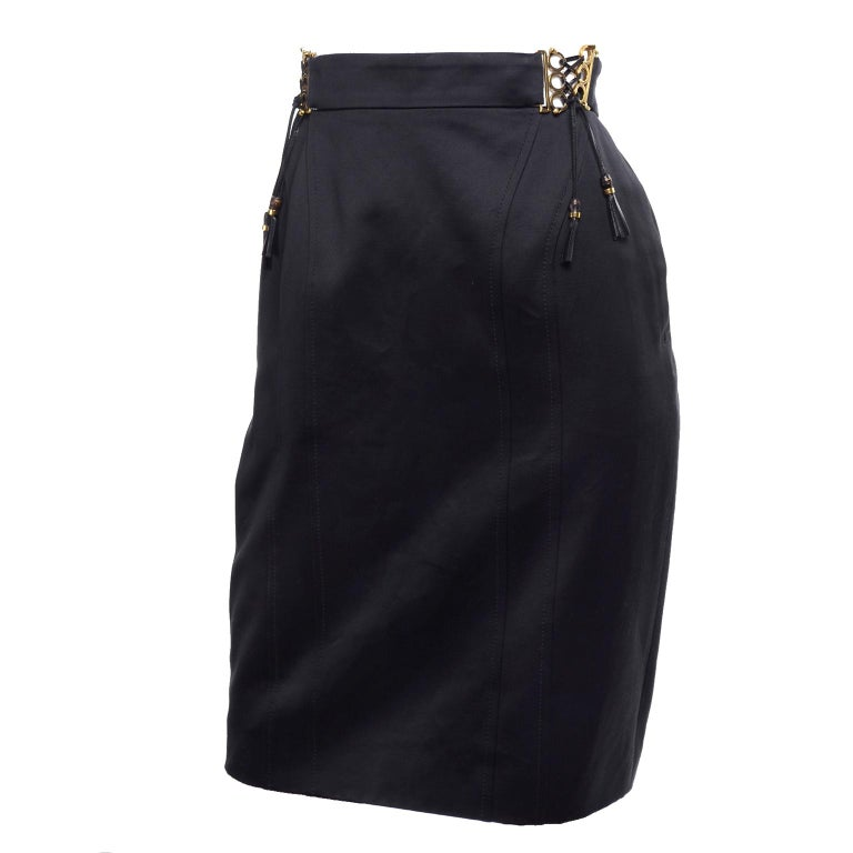New Gucci Skirt 2011 Black Pencil Skirt W Gold Buckles & Leather Tassels W/ Tags For Sale