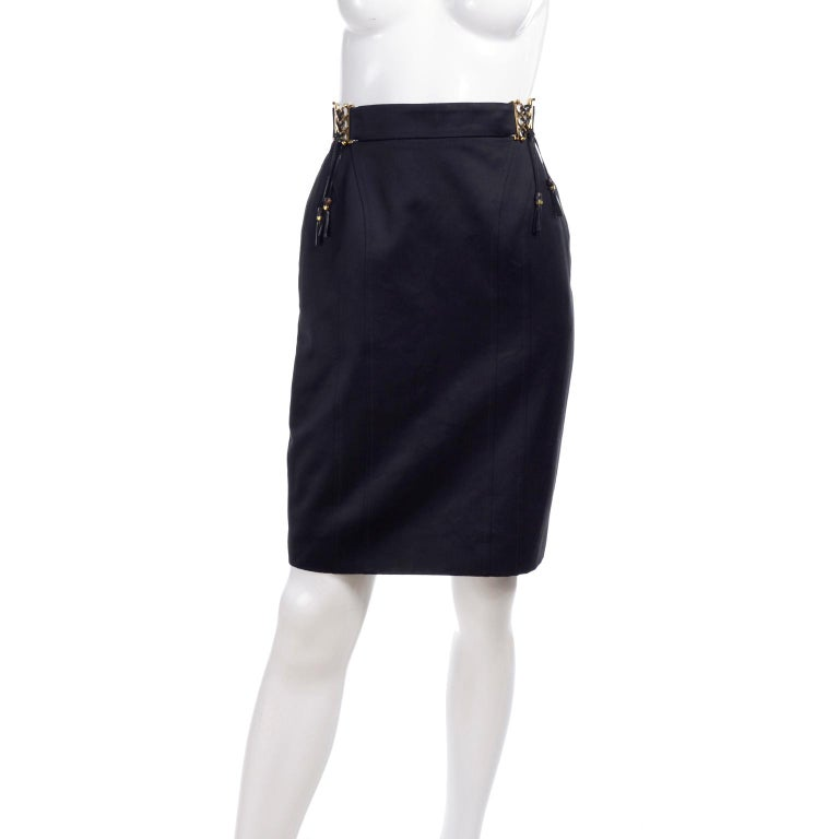 New Gucci Skirt 2011 Black Pencil Skirt W Gold Buckles & Leather Tassels W/ Tags For Sale 7