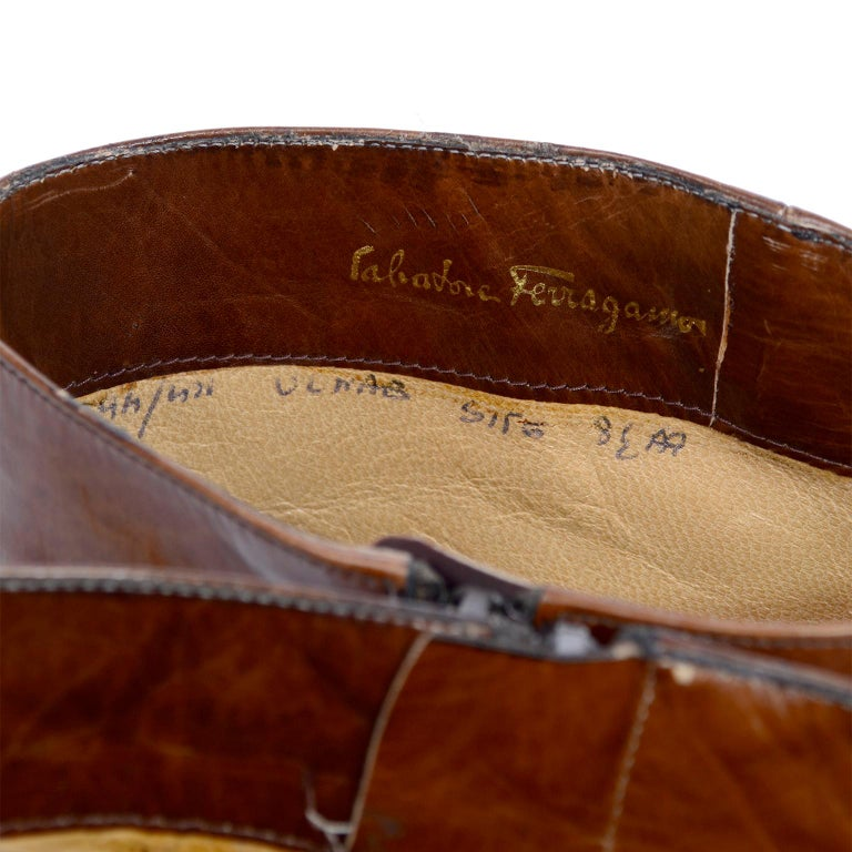 Ferragamo Vintage Caramel Brown Leather Boots Size 8.5 AA For Sale 7
