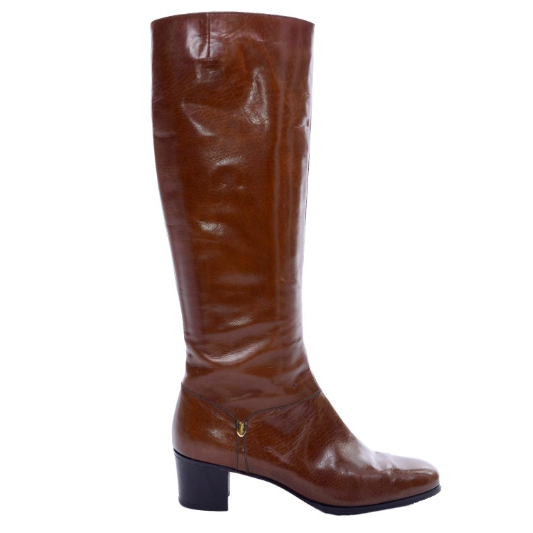 Ferragamo Vintage Caramel Brown Leather Boots Size 8.5 AA For Sale 2