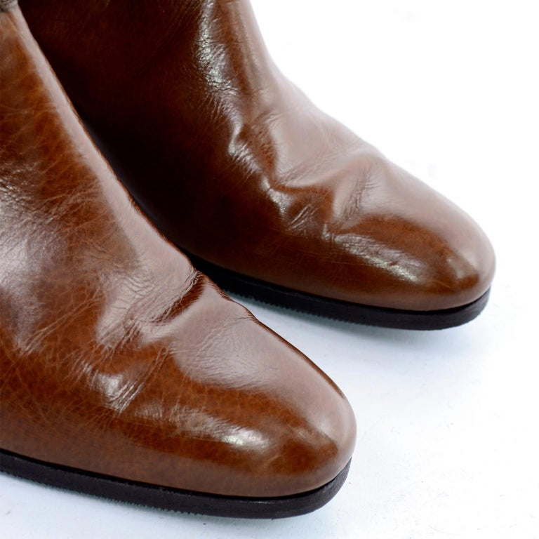 Ferragamo Vintage Caramel Brown Leather Boots Size 8.5 AA For Sale 6