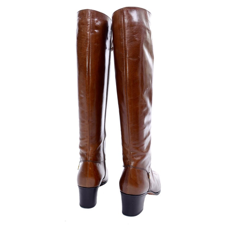 Ferragamo Vintage Caramel Brown Leather Boots Size 8.5 AA For Sale 1