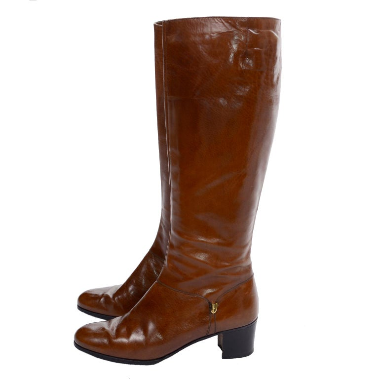 Ferragamo Vintage Caramel Brown Leather Boots Size 8.5 AA For Sale