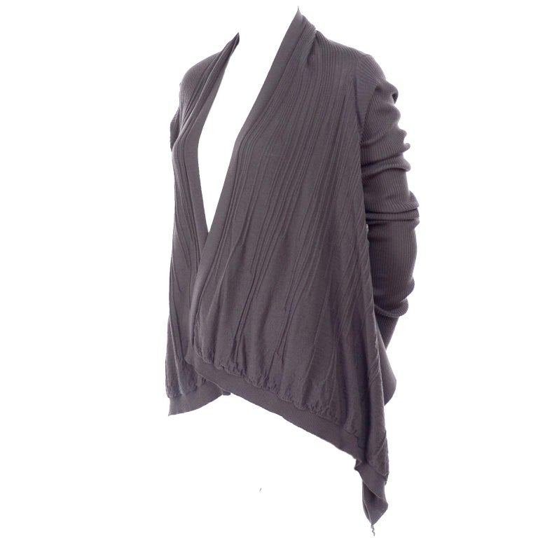Gray Rick Owens Walrus Collection 2017 Short Wrap Wool Sweater