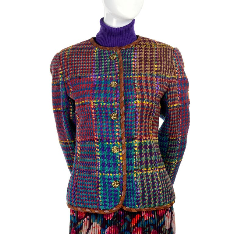 1990s Ungaro Floral Pleated Skirt Tweed Jacket Sweater & Belt Pattern Mix Outfit For Sale 2