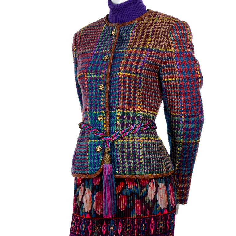 Women's 1990s Ungaro Floral Pleated Skirt Tweed Jacket Sweater & Belt Pattern Mix Outfit For Sale