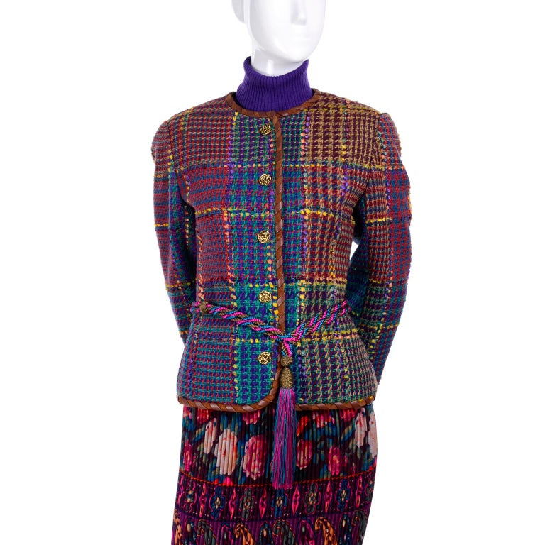 1990s Ungaro Floral Pleated Skirt Tweed Jacket Sweater & Belt Pattern Mix Outfit For Sale 4