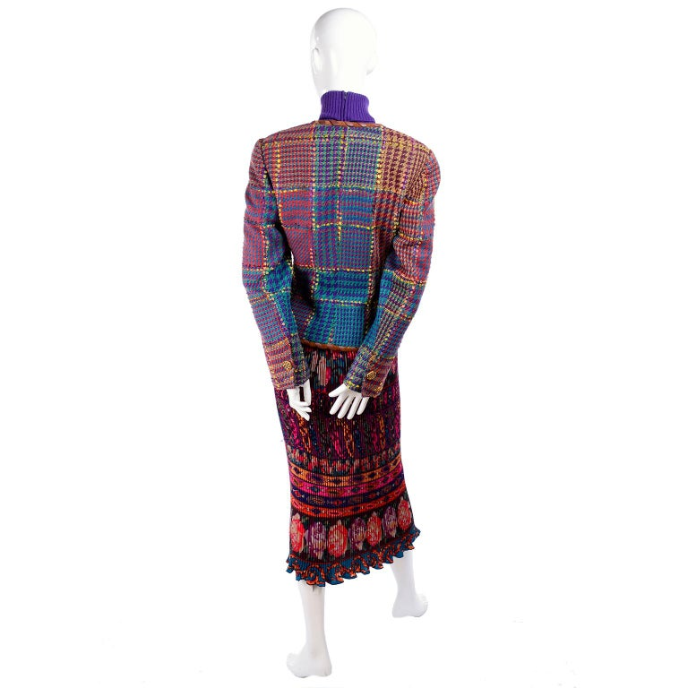 1990s Ungaro Floral Pleated Skirt Tweed Jacket Sweater & Belt Pattern Mix Outfit For Sale 8