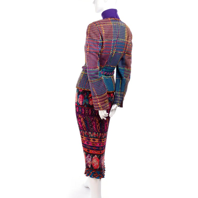 1990s Ungaro Floral Pleated Skirt Tweed Jacket Sweater & Belt Pattern Mix Outfit For Sale 10