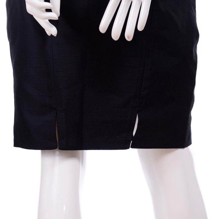 Beaded Valentino Black Silk Evening Suit Tassels & Avant Garde Pleated Shoulders For Sale 4