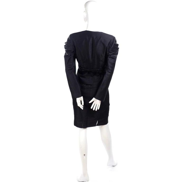 Beaded Valentino Black Silk Evening Suit Tassels & Avant Garde Pleated Shoulders For Sale 2