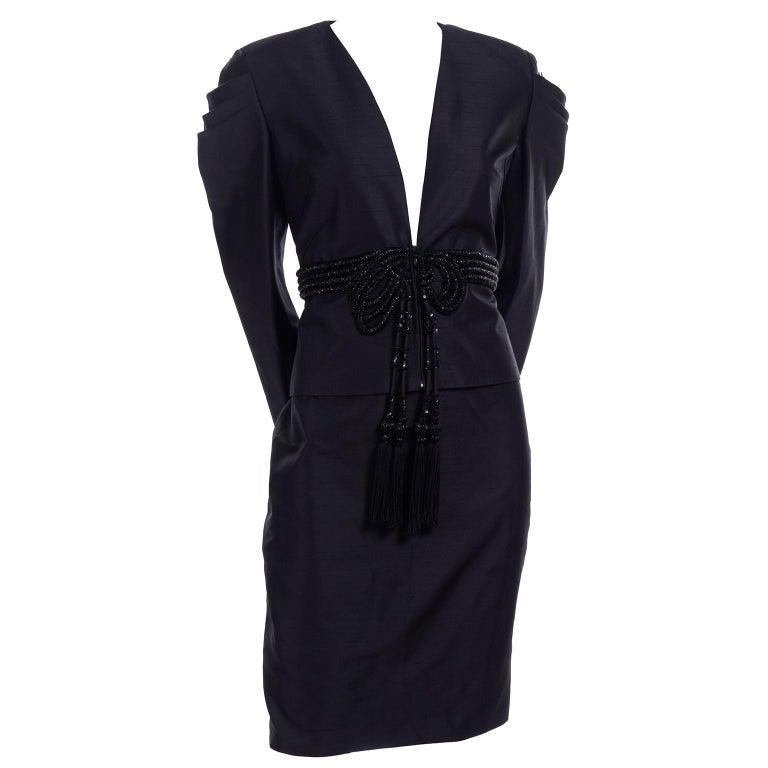 Beaded Valentino Black Silk Evening Suit Tassels & Avant Garde Pleated Shoulders For Sale