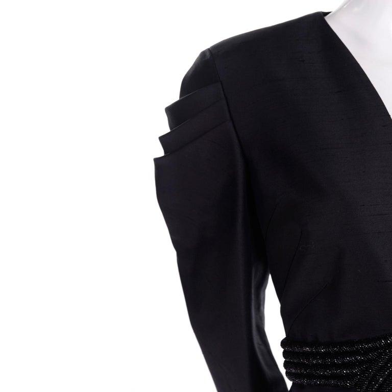 Women's Beaded Valentino Black Silk Evening Suit Tassels & Avant Garde Pleated Shoulders For Sale