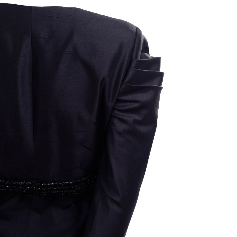 Beaded Valentino Black Silk Evening Suit Tassels & Avant Garde Pleated Shoulders For Sale 3