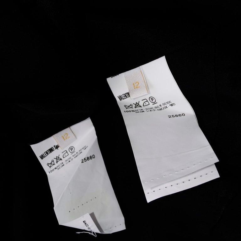 Beaded Valentino Black Silk Evening Suit Tassels & Avant Garde Pleated Shoulders For Sale 6