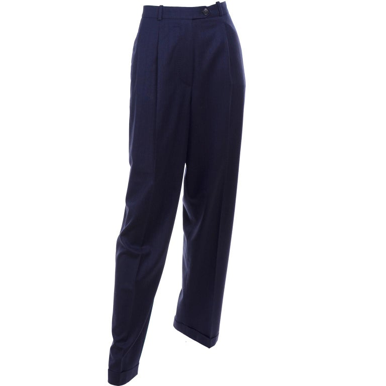 Hermes Navy Blue High Waisted Cuffed Trouser Pants Size 38