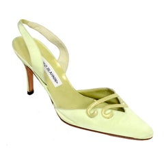 Green Manolo Blahnik Carolyne Slingback Shoes w/ Decorative Swirls in Size 37.5