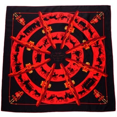 2006 Hermes Paris qui Roule Silk Scarf in Red & Black Designed by Hugo Grygkar